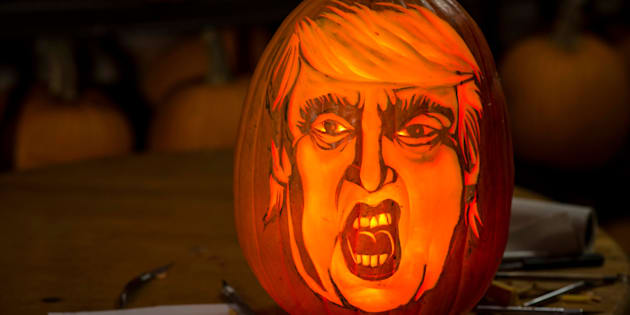 NEW YORK, NY - OCTOBER 5: Artist Hugh McMahon carves Donald Trump into a pumpkin at his Brooklyn, New York studio on Monday Oct. 5, 2015. (Photo by Damon Dahlen, Huffington Post) *** Local Caption ***