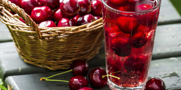 Fresh juice made of sweet cherries and ice.