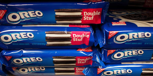 TO GO WITH AFP STORY US-LIFESTYLE-FOOD-OREO A March 7, 2012 photo shows packages of Oreo cookies in Washington, DC.  Technically they're 'chocolate sandwich cookies,' a baked concoction of sugar, vitamin-enriched flour, canola oil, high-fructose corn syrup and, at the bottom of the list of ingredients, chocolate. But the Oreo cookie -- first baked in New York city 100 years ago on March 6, 2012 -- is much more than that. It's an American icon, the best-selling cookie in the nation, with plenty of fans around the world to boot. AFP PHOTO/Mandel NGAN (Photo credit should read MANDEL NGAN/AFP/Getty Images)