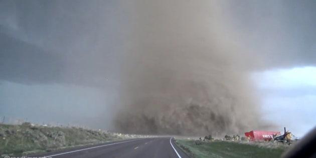 Driving into a tornado.