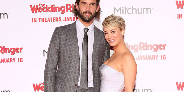Tennis player Ryan Sweeting and actress Kaley Cuoco-Sweeting attend the world premiere of 'The Wedding Ringer' on Jan. 6, 2015 in Hollywood, California.