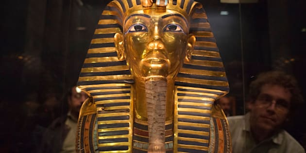 The mask of King Tutankhamun, which was found to have been damaged and glued back together, is seen at the Egyptian Museum in Cairo January 24, 2015. The Egyptian Museum in Cairo acknowledged on Saturday that one of its greatest treasures, the mask of King Tutankhamun, had been crudely glued back together after being damaged, but insisted the item could be restored to its former glory. The golden mask's beard was detached in August, something the museum had not made public until photographs surfaced on the Internet showing a line of glue around its chin, prompting speculation about the damage and questions over whether Egypt was able to care for its priceless artifacts.     REUTERS/Shadi Bushra (EGYPT - Tags: SOCIETY TPX IMAGES OF THE DAY)
