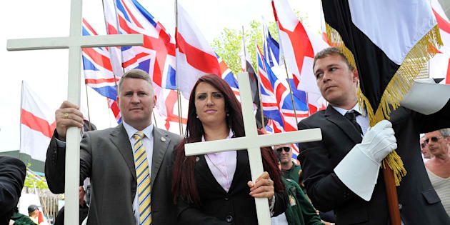 """Paul Golding and Jayda Fransen from the far-right group Britain First, apseudo-political activist party thatcalls itself a """"patriotic resistance"""" that opposes Islam, political correctness and the EU."""