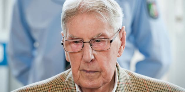 Reinhold Hanning, a 94-year-old former guard at Auschwitz death camp pictured above in April, was convictedin Germany on Friday.