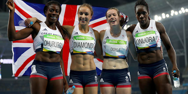 RIO DE JANEIRO, BRAZIL - AUGUST 20:  (L-R) Christine Ohuruogu, Emily Diamond, Eilidh Doyle and Anyika Onuora of Great Britain react after winning bronze in the Women's 4 x 400 meter Relay on Day 15 of the Rio 2016 Olympic Games at the Olympic Stadium on August 20, 2016 in Rio de Janeiro, Brazil.  (Photo by Ian Walton/Getty Images)