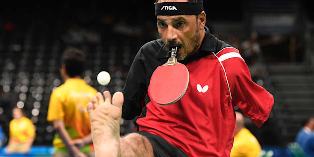 Egypt's Ibrahim Hamadtou competes in table tennis at the Riocentro during the Paralympic Games in Rio de Janeiro, Brazil on September 9, 2016.