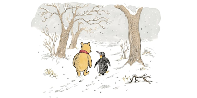 Winnie-the-Pooh & Penguin, fromThe Best Bear in All the World,illustrated by Mark Burgess.