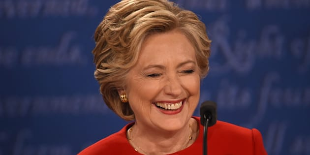 Hillary Clinton, laughing in the face of moronic men everywhere.