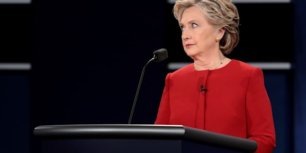 HEMPSTEAD, NY - SEPTEMBER 26:  Democratic presidential nominee Hillary Clinton looks on during the Presidential Debate at Hofstra University on September 26, 2016 in Hempstead, New York.  The first of four debates for the 2016 Election, three Presidential and one Vice Presidential, is moderated by NBC's Lester Holt.  (Photo by Drew Angerer/Getty Images)