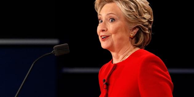 Democratic U.S. presidential nominee Hillary Clinton speaks during the first presidential debate with Republican U.S. presidential nominee Donald Trump at Hofstra University in Hempstead, New York, U.S., September 26, 2016.