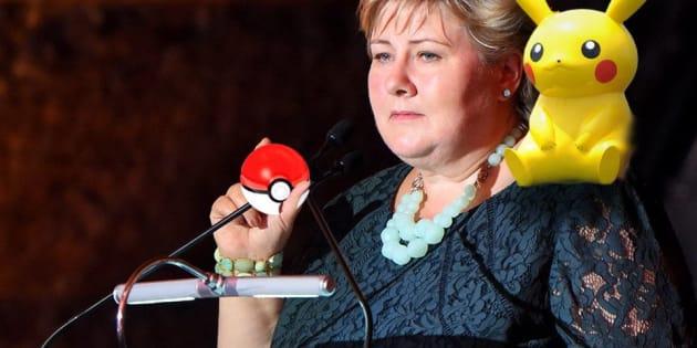 Erna Solberg dabbles in Pokemon.