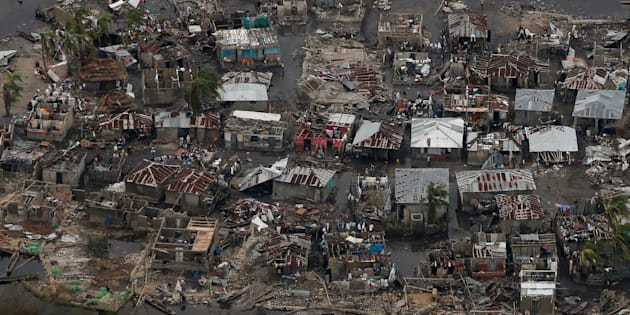 Destroyed houses are seen in a village after Hurricane Matthew passes Corail, Haiti, October 6, 2016. REUTERS/Carlos Garcia Rawlins     TPX IMAGES OF THE DAY