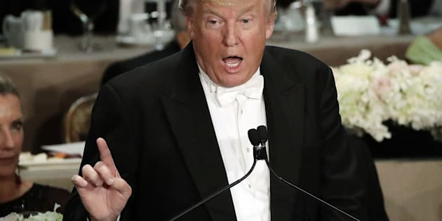 Republican presidential candidate Donald Trump speaks at the 71st Annual Alfred E. Smith Memorial Foundation Dinner Thursday, Oct. 20, 2016, in New York. (AP Photo/Frank Franklin II)