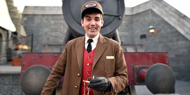 UNIVERSAL CITY, CALIFORNIA - APRIL 05:  UNIVERSAL STUDIOS HOLLYWOOD -- 'Wizarding World of Harry Potter Attraction Opening' -- Pictured: Hogwarts Express train conductor attends the opening of the 'Wizarding World of Harry Potter' at Universal Studios Hollywood on April 5, 2016. NUP_173164 (Photo by: Mike Windle/Universal Studios/NBCU Photo Bank)  (Photo by Mike Windle/Universal Studios/NBC via Getty Images)