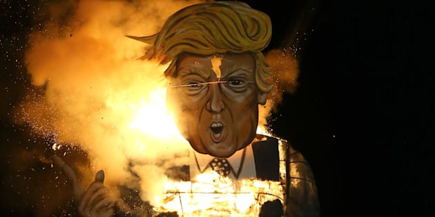 The Edenbridge Bonfire Society celebrity guy, US Presidential hopeful Donald Trump, is set on fire in Edenbridge, Kent.