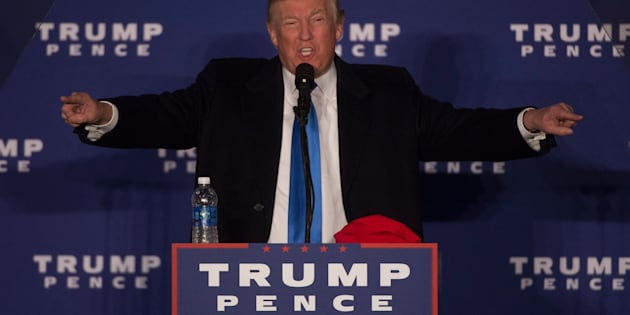 Republican presidential candidate Donald Trump addresses a campaign rally in Leesburg, Virginia.