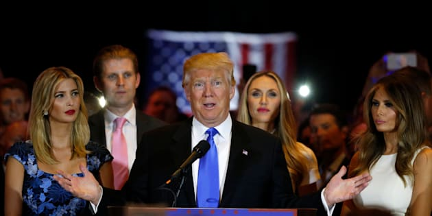 Republican U.S. presidential candidate Donald Trump speaks as he stands surrounded by (L-R) his daughter Ivanka, his son Eric, Eric Trump's wife Lara Yunaska and his wife Melania (R), during a campaign victory party after rival candidate Senator Ted Cruz dropped out of the race for the Republican presidential nomination, at Trump Tower in Manhattan, New York, U.S., May 3, 2016.  REUTERS/Lucas Jackson    TPX IMAGES OF THE DAY