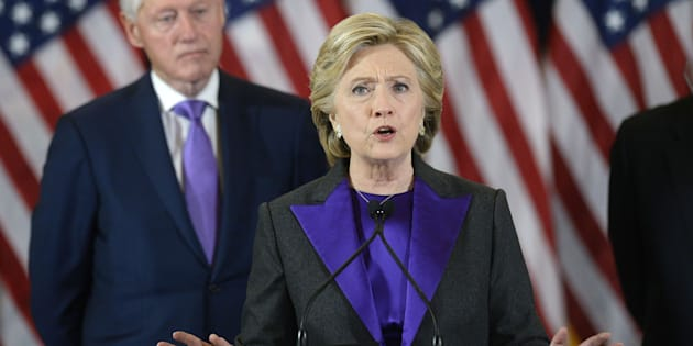 Hillary Clinton, former 2016 Democratic presidential nominee, speaks at the New Yorker Hotel in New York, U.S., on Wednesday, Nov. 9, 2016. In the hours after Donald Trump's election as the 45th president of the United States, Republicans in Congress claimed a mandate for their agenda to revamp financial rules and replace Obamacare, and Clinton urged her supporters to give him a chance to govern. Photographer: Olivier Douliery/Pool via Bloomberg via Getty Images