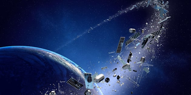 Illustration of space junk orbiting around Earth.