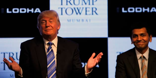 MUMBAI, INDIA - AUGUST 12: Donald J.Trump, Chairman and President of The Trump along with Abhishek Lodha, MD Lodha Group at a news conference to at the launch of Trump Tower on August 12, 2014 in Mumbai, India. The Trump Tower Mumbai has around 300 super luxury units in the three, four and five bedroom configuration, priced in the range of Rs 9 crore to Rs 18 crore. (Photo by Kunal Patil/Hindustan Times via Getty Images)
