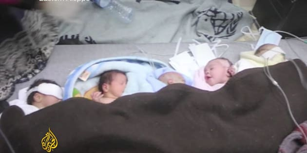 The babies were evacuated into the basement of the building