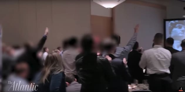 People attending the National Policy Institute's annual conference in Washington, D.C., on Saturday were seen making Nazi salutes and cheering Donald Trump's win.