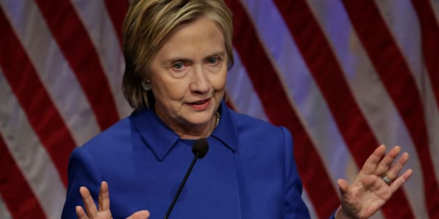 Hillary Clinton speaks at the Children's Defense Fund Beat the Odds Celebration at the Newseum in Washington on November 16, 2016. / AFP / YURI GRIPAS        (Photo credit should read YURI GRIPAS/AFP/Getty Images)