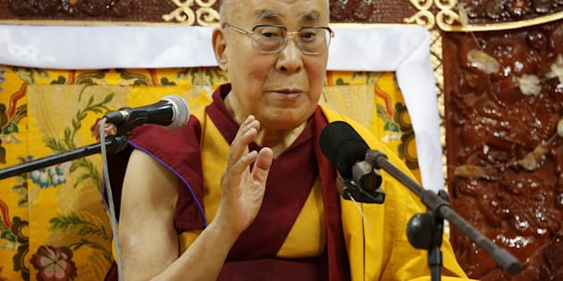 Tibet's exiled spiritual leader the Dalai Lama addresses those gathered at Buyant Ukhaa sport palace in Ulaanbaatar, Mongolia, November 20, 2016.