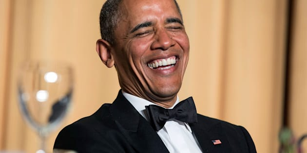 U.S. President Barack Obama laughs at a joke during the White House Correspondents' Association Dinner in Washington May 3, 2014.      REUTERS/Joshua Roberts    (UNITED STATES - Tags: POLITICS MEDIA ENTERTAINMENT SOCIETY PROFILE TPX IMAGES OF THE DAY)