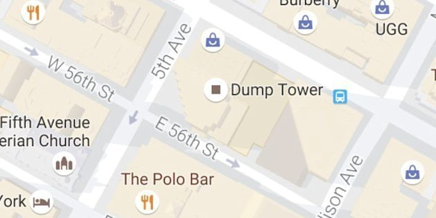 Trump Tower was briefly renamed Dump Tower on Google Maps