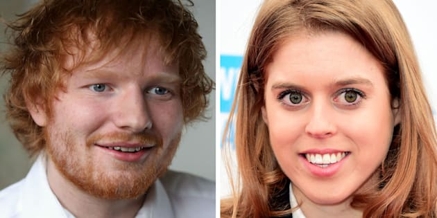 """File photos of Princess Beatrice and Ed Sheeran as the Royal accidentally cut singer Ed Sheeran's face with a sword during a party prank which involved her pretending to """"knight"""" James Blunt, according to reports."""