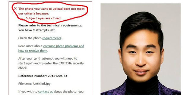 A screenshot of New Zealand man Richard Lee's passport photo rejection notice, supplied to Reuters December 7, 2016.   Richard Lee/Handout via REUTERS    ATTENTION EDITORS - THIS PICTURE WAS PROVIDED BY A THIRD PARTY. EDITORIAL USE ONLY. NO RESALES. NO ARCHIVE. THE SECTION WITH THE RED MARK WAS CIRCLED AT SOURCE.