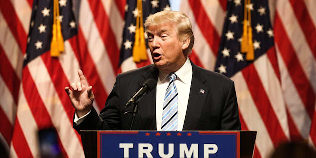 Donald Trump, presumptive 2016 Republican presidential nominee, speaks during a campaign event in New York, U.S., on Saturday, July 16, 2016. Trump hastily called off a Friday news conference expected to feature an 'Apprentice'-style rollout of his vice-presidential pick, citing 'the horrible attack in Nice, France,' one day earlier. Then he announced it anyway Friday morning on Twitter, marking an anticlimactic finish to a frenzied process. Photographer: Chris Goodney/Bloomberg via Getty Images