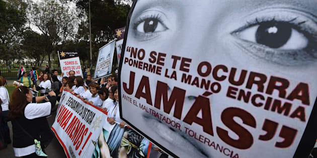 """Thousands of demonstrators participate in the """"Ni una menos"""" (Not One Less) march in Lima, Peru. Protestors held bannerscondemning gender violence and femicide."""