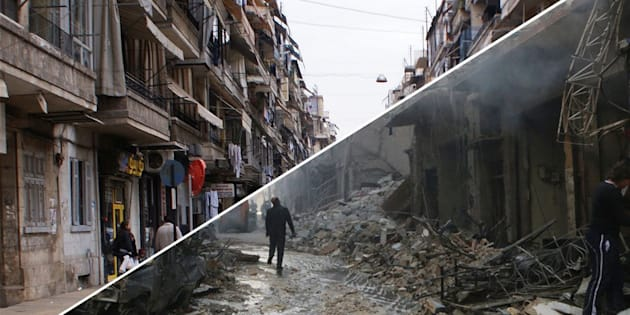 A before and after shot of Aleppo's streets