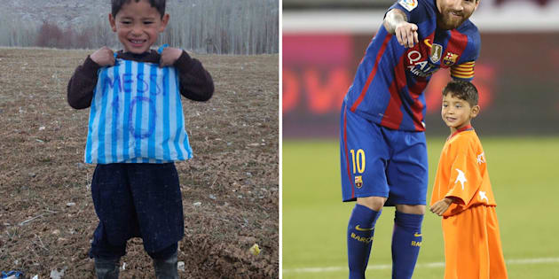 Murtaza Ahmadi, who showed offhis plastic-bag shirtnearly a year ago, metLionel Messi on Dec. 13.