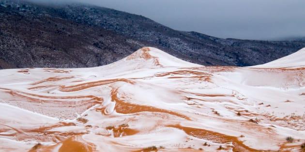 Snow in the Sahara Desert near the town of Ain Sefra, Algeria Snow in the Sahara Desert, Ain Sefra.