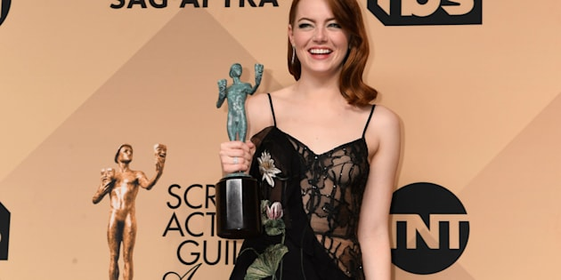 LOS ANGELES, CA - JANUARY 29: Actor Emma Stone, winner of the Outstanding Female Actor in a Leading Role award for 'La La Land,' poses in the press room during the 23rd Annual Screen Actors Guild Awards at The Shrine Expo Hall on January 29, 2017 in Los Angeles, California.  (Photo by Jeff Kravitz/FilmMagic)