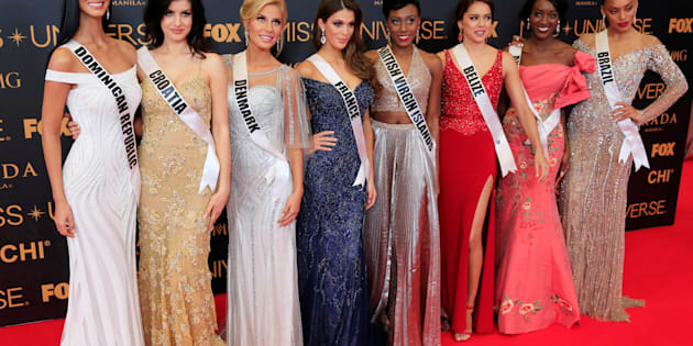 Miss Universe candidates pose for a picture during a red carpet inside a SMX convention in metro Manila, Philippines January 29, 2017. In Photo from L-R: Miss Dominican Republic Rosalba Garcías, Miss Croatia Barbara Filipovic, Miss Denmark Christina Mikkelsen, Miss France Iris Mittenaere, Miss British Virgin Islands Erika Creque, Miss Belize Rebecca Rath, Miss Angola Luísa Baptista and Miss Brazil Raissa Santana. REUTERS/Romeo Ranoco