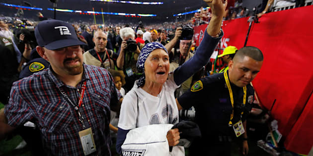 Galynn Brady leaves the field following the New England Patriots' victory at the Super Bowl LI.