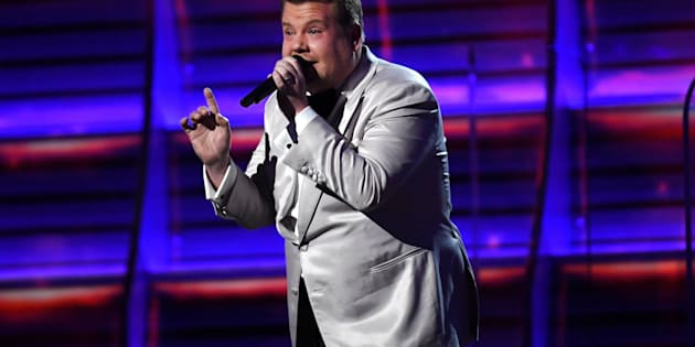 LOS ANGELES, CA - FEBRUARY 12:  Host James Corden speaks onstage during The 59th GRAMMY Awards at STAPLES Center on February 12, 2017 in Los Angeles, California.  (Photo by Kevork Djansezian/Getty Images)