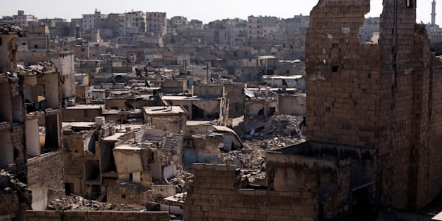 A photo shows the damage in the al Kalasa district of Aleppo, Syria, on Feb. 2, 2017.