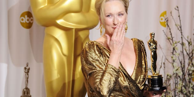HOLLYWOOD, CA - FEBRUARY 26:  Actress Meryl Streep poses in the press room at the 84th Annual Academy Awards held at the Hollywood & Highland Center on February 26, 2012 in Hollywood, California.  (Photo by Jeff Kravitz/FilmMagic)