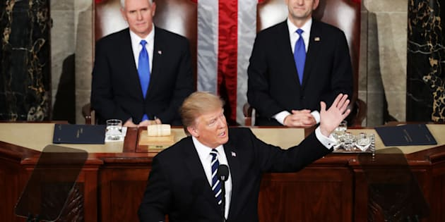 WASHINGTON, DC - FEBRUARY 28:  U.S. President Donald Trump addresses a joint session of the U.S. Congress as Vice President Mike Pence (L) and House Speaker Rep. Paul Ryan (R) (R-WI) look on on February 28, 2017 in the House chamber of  the U.S. Capitol in Washington, DC. Trump's first address to Congress focused on national security, tax and regulatory reform, the economy, and healthcare.  (Photo by Chip Somodevilla/Getty Images)