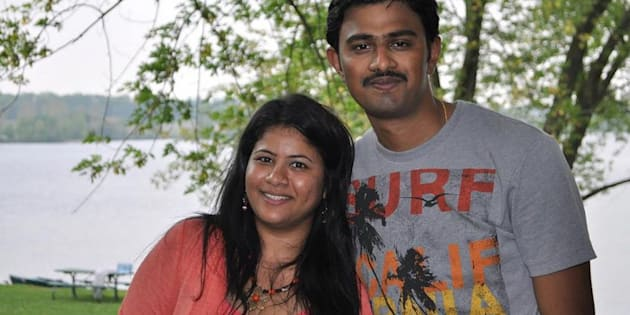 Sunayana Dumala pictured with her husband, Srinivas Kuchibhotla. Kuchibhotla, 32, was fatally shot in what is now being investigated as a hate crime.