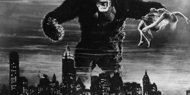 1933:  One of John Cerisoli's models of the giant ape, poised above the New York skyline in a scene from the classic monster movie 'King Kong'. In one of his enormous hands is leading lady Fay Wray, the film's heroine.  (Photo by Hulton Archive/Getty Images)