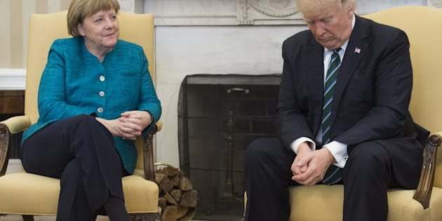 US President Donald Trump and German Chancellor Angela Merkel meet in the Oval Office of the White House in Washington, DC, on March 17, 2017. / AFP PHOTO / SAUL LOEB        (Photo credit should read SAUL LOEB/AFP/Getty Images)