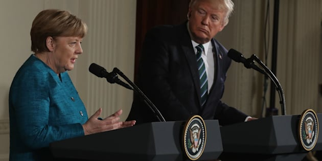 WASHINGTON, DC - MARCH 17:  U.S. President Donald Trump (R) holds a joint press conference with German Chancellor Angela Merkel in the East Room of the White House on March 17, 2017 in Washington, DC. The two leaders discussed strengthening NATO, fighting the Islamic State group, the ongoing conflict in Ukraine and held a roundtable discussion with German business leaders during their first face-to-face meeting.  (Photo by Chip Somodevilla/Getty Images)