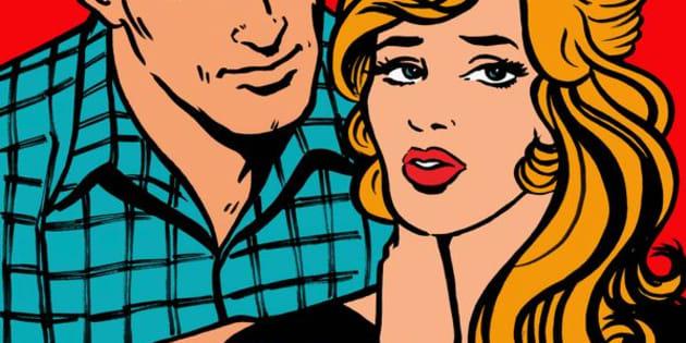 Boyfriend comforting stressed girlfriend talking in speech bubble