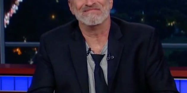 "Jon Stewart takes over the ""Late Show"" desk."